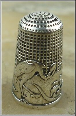 Antique French Victorian Sterling Silver Art Nouveau Thimble Sewing Tool