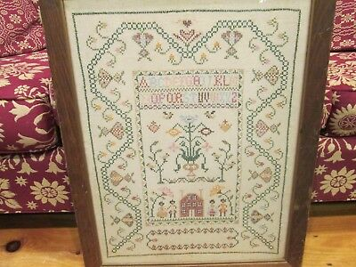 Large Pictorial Sampler, Figures, Flowers, House and Alphabet