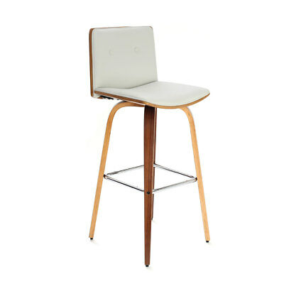 Walnut Veneer Bar Chair Breakfast Stool with White Leather Effect Seat