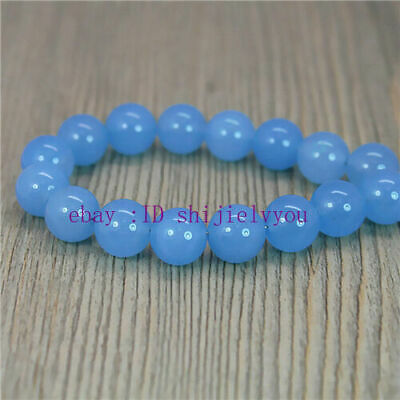"""NEW  Bright Blue Chalcedony 10mm Round Beads 15"""""""