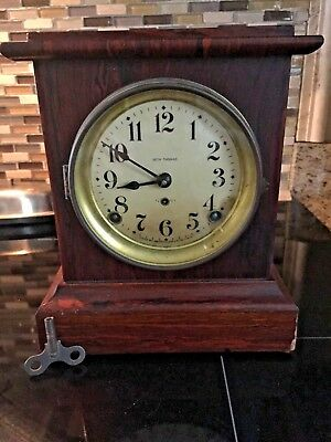 Antique Seth Thomas Adamantine Mantle Clock with Key & pendulum