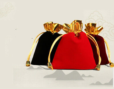 5PCS Black/ Red Jewelry Pouches Velour Velvet Drawstring Gift Bags 7x9cm