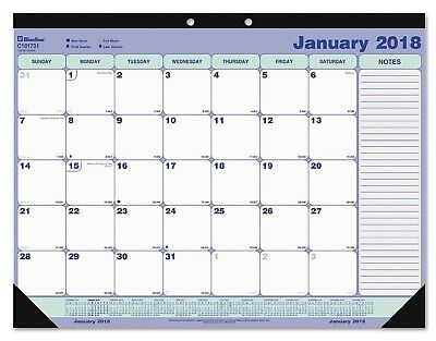 Year 2018 Blueline Desk Pad Calendar, 21 1/4 x 16, Blue/White/Green