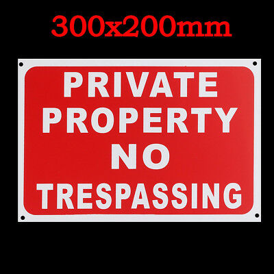300x200mm Private Property No Trespassing Plastic Stickers Warning Signs Decal