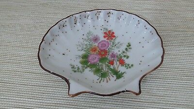 Shell Floral Soap Dish Oval Flowers Gold Speckles White Orange Pink Yellow Green