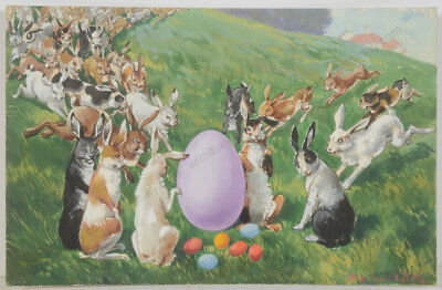 """August Specht """"Easter time"""", watercolor, early 20th century"""