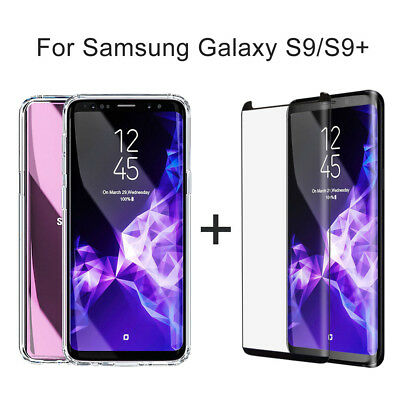 Samsung Galaxy S9/S9 Plus Tempered Glass Screen Protector+Soft TPU Clear Case il