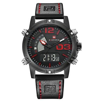 NAVIFORCE 9095 Fashion Sports Men Watch Casual Leather Band Sports Dual Movement