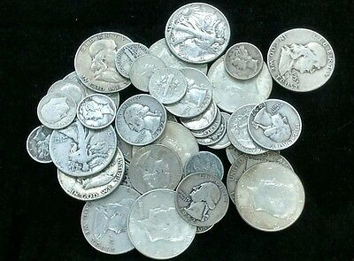 1 LB 90% U.S Silver Coins Half Dollars Quarters Dimes Mixed Lot Full Dates #DV02