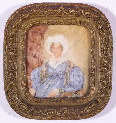 """English Lady"", Miniature on Porcelain, Early 19th C."