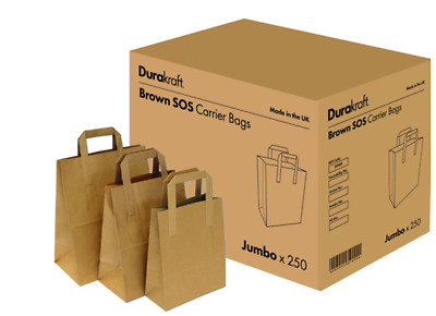 250 - 2000 x Brown White S/M/L SOS Kraft Paper Bags Tape Handle Carrier Cafe,Eco