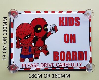 Superheroes Deadpool and spiderman Kids On Board Car Laminated Sign