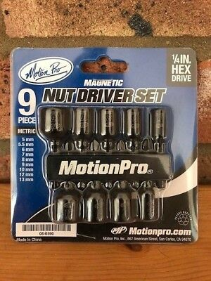 New Motion Pro Magnetic Hex-Drive Nut Socket Driver Set 9 Pieces Mx Tool