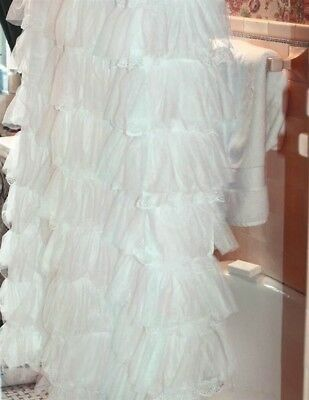 """Victorian Trading Co NWOT White Ruffle Shower Curtain Organdy & Lace 72"""" 6A"""