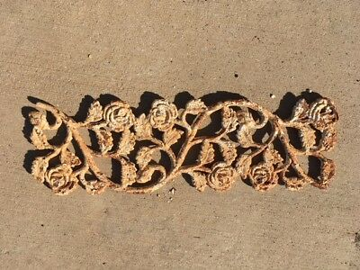 Antique Vintage Salvage Cast Iron Architectural Rail Post Insert Roses Shabby