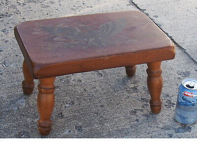 Vintage Williams Americana Thick Pine Wood Top Heavy Step Foot Stool Eagle Decal