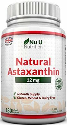 Nu U Nutrition Astaxanthin Premium Strength, 12mg  180 Softgels 6 Month Supply