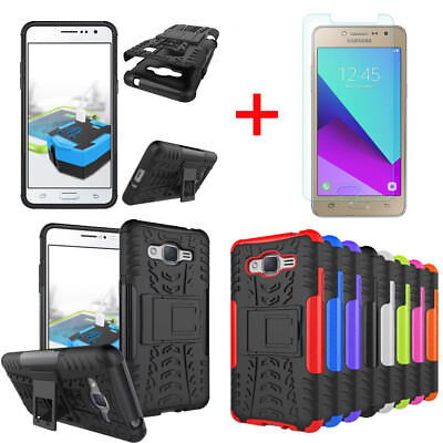 For Samsung Galaxy J2 Prime Rugged Armor Case Cover w/ Kickstand +Tempered Glass