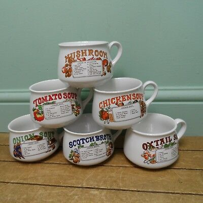 Set Of 6 Vintage Soup Bowls With Recipes On The Side Rd1304 9 35