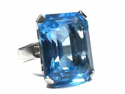 Beautiful Ladies Sterling Silver LARGE Blue Glass Stone Ring - Size 4.25 - Wow!