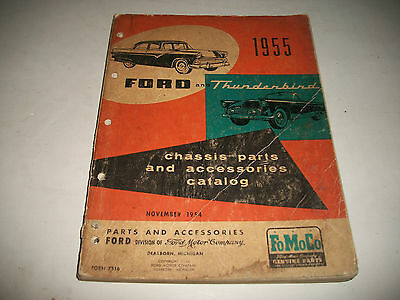 1955 Ford & Thunderbird Illustrated Chassis Parts Catalog Customline Fairlane