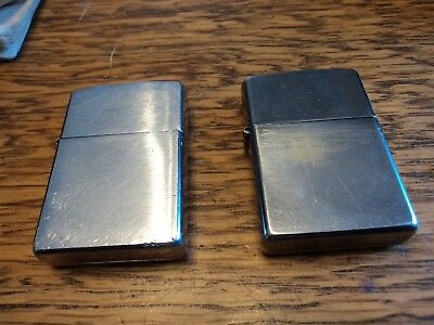Vintage Lot of 2  Chrome Zippo Lighters 1 Working   1 needs parts
