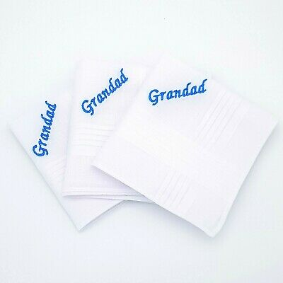 Box Grandad Grandpa Pops Mens Personalised Handkerchief Any Name Boxed Hankie