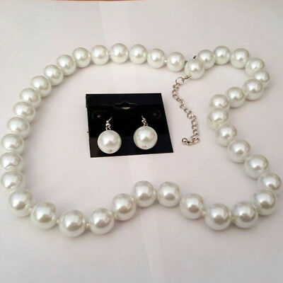 Long Chunky White Faux Pearl Silver Tone Necklace Earring Set Fashion US New