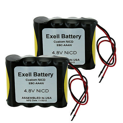 """2pc Exell  4.8V Custom NiCd 1000mAh Battery Pack w/ 5"""" AWG Bare Wire Leads"""