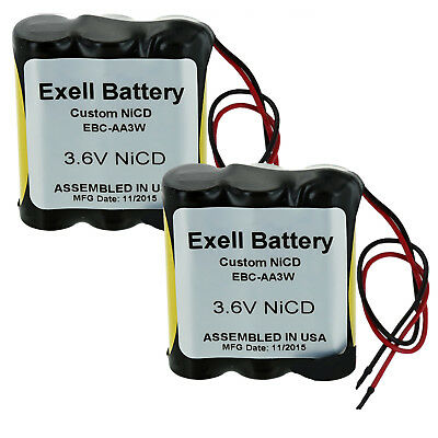 """2pc Exell 3.6V Custom NiCd 1000mAh Battery Pack w/ 5"""" AWG Bare Wire Leads"""
