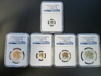 2014 Canada Maple Leaf Gilt 5-Coin Reverse Proof Early Releases PF70 Set