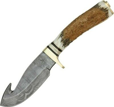 Damascus Stag Handle Guthook Straight Fixed Skinner Knife + Sheath DM1008