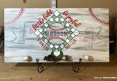 Baseball Field Personalized Sign With Hanging Decor.