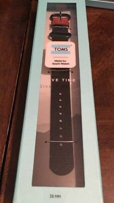 Toms for Apple Watch Band Solid Black 38MM Nylon & Leather Bracelet