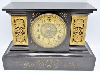 "Vintage Black Slate Ansolia Mantle Clock w/ Gilt Gold Highlights - 15"" x 10"""