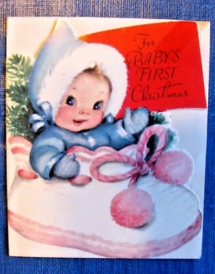 Vintage hallmark mary hamilton greeting card christmas red girl babys first christmas vintage greeting card rustcraft glossy diecut snowsuit m4hsunfo Gallery