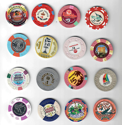 16 Different $48 Worth Las Vegas Gaming Chips Some HTF Coin in Center Obsolete