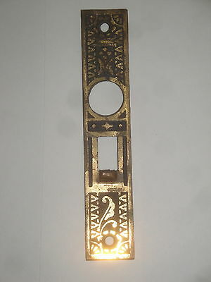 Antique Mortise Door Lock Plate Only Victorian Eastlake Gothic Ornate Brass