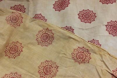 """French Antique Block Printed Cotton Fabric c1810-1820~Quilters~L-56"""" X W-31"""""""