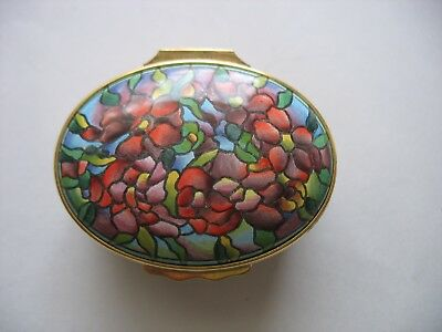 Halcyon Days trinket enamel box designed by Tiffany & Co Stained glass design