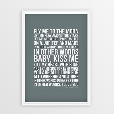 Frank Sinatra Fly Me To The Moon Lyrics Poster Song No Frame A4 A3 Size Printed