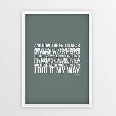 Frank Sinatra My Way Lyrics Words A4 A3 Sizes Picture Gift Printed Typography
