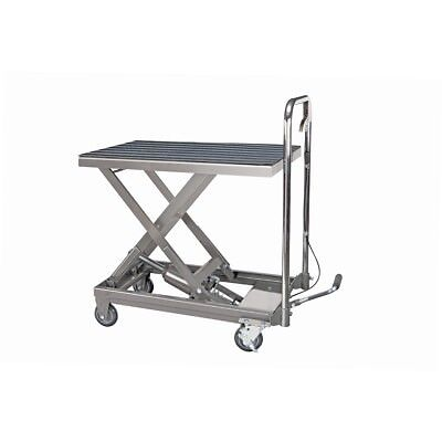 Rolling Table Cart Hydraulic Lift Cart w/Foot Pump Dolly Tools 500 lbs