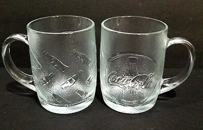 2 Coca-Cola Frosted Embossed Coke Bottle Glass Coffee Mug Cup  Made In USA