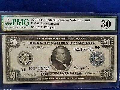1914 $20 Federal Reserve Note St. Louis - Pmg Very Fine 30  - H2115473A