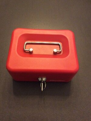 Office Depot red lockable cash box