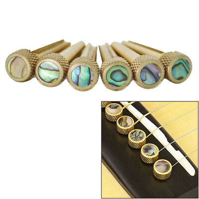 6X Brass Bridge Pins With Nut and Saddle Slotted for Acoustic Guitar Durable