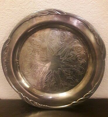 """13 3/4"""" Oneida Augusta Silverplate Etched Serving Round Tray Platter Plate w Box"""