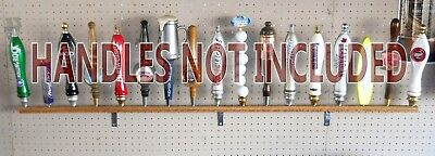 """17 Place Beer Tap Handle Display Wall Mounted Solid Oak 58"""" Long"""