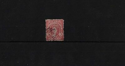 BAHAMAS SG21X, 1d CARMINE-LAKE WMK REVERSED FINE USED